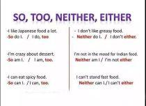 Phân biệt Too/ So và Either/ Neither