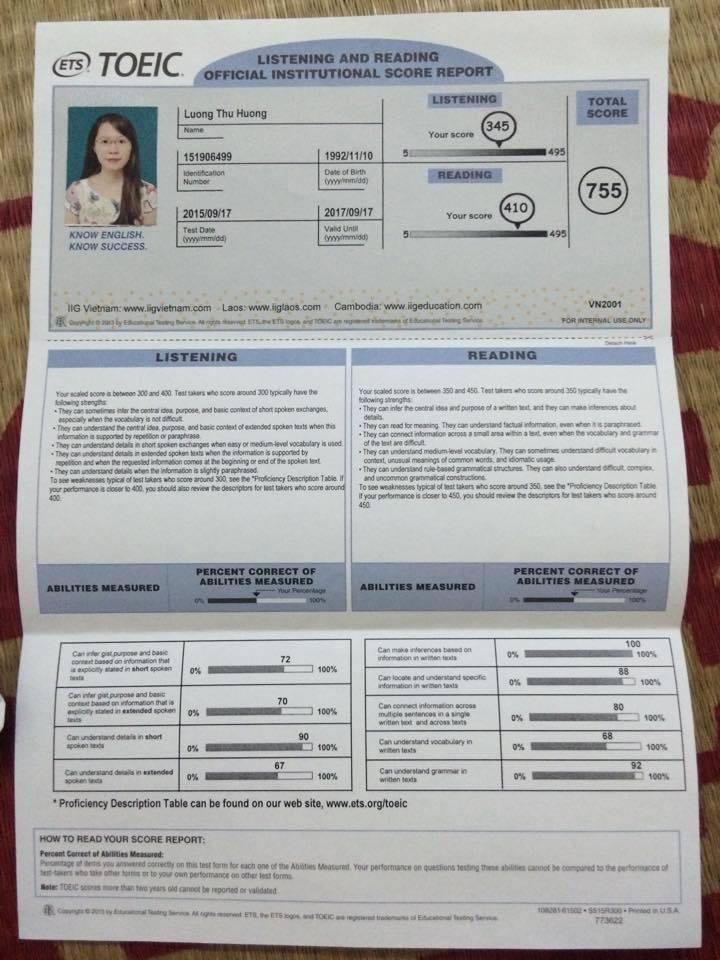 Lương Thu Hương - 755 điểm TOEIC