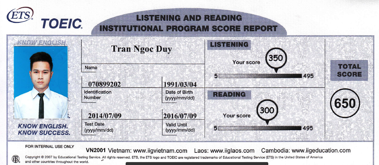 Trần Ngọc Duy - Toeic 650