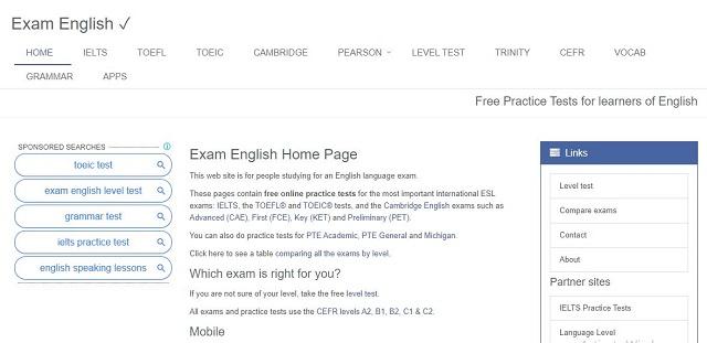 website học tiếng anh exam english